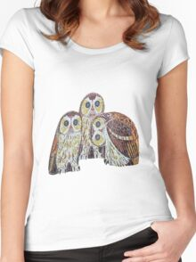 Three Owls - Art Nouveau Inspired by Klimt Women's Fitted Scoop T-Shirt