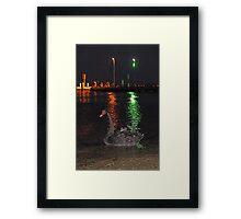 Black Swan At Night  Framed Print