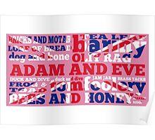 Pink Union Jack, Cockney Rhyming Slang Poster