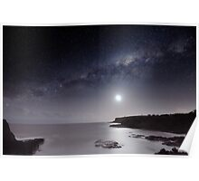 Milky Way and Moon Glow Poster