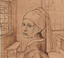 The Girl with Pearl earring of Vermeer, in the master's room. by Norbert Kiss
