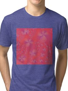 Violet and Pink Abstract Flowers Tri-blend T-Shirt