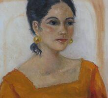 Mexican Senorita In Oil by Doris Currier