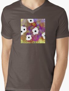 White Flowers Mens V-Neck T-Shirt