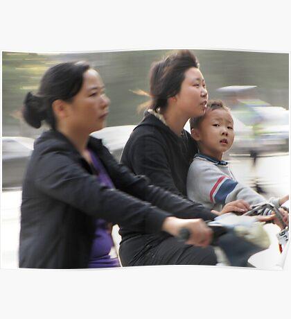 Cyclists, Yangzhou, China Poster