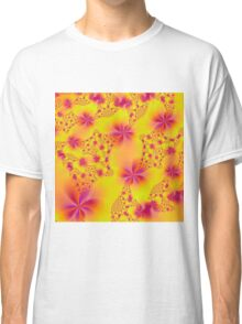 Pink Abstract Flowers on Yellow Classic T-Shirt