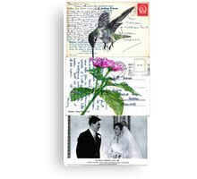 Sad veiled bride please be happy Canvas Print
