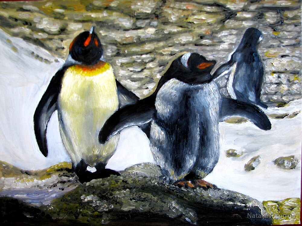 Two Penquins oil paintings by Natalja Picugina