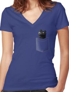 Toothless in your Pocket t shirt Women's Fitted V-Neck T-Shirt