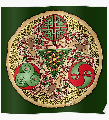 Celtic Reindeer Shield Poster