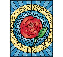 Celtic Rose Stained Glass Photographic Print