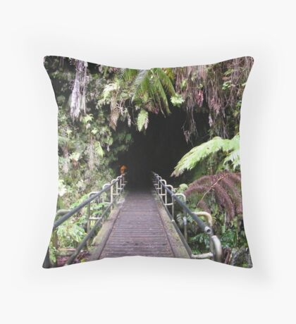 The entrance to Thurston Lava Tube on the Big island of  Hawaii Throw Pillow