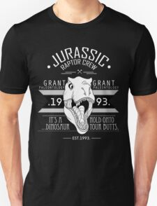 Jurassic Raptor Crew .White Version. Unisex T-Shirt