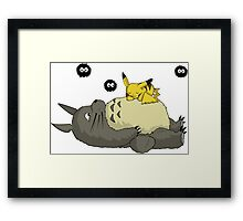 Pika and Totoro Framed Print
