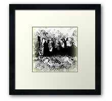 Abstract Black and White with People Design Framed Print