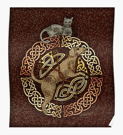Celtic Cat and Dog Poster