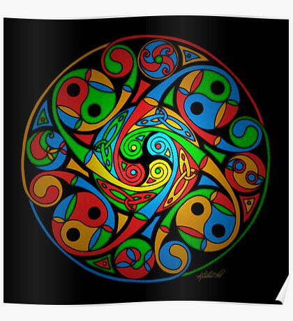Celtic Stained Glass Spiral Poster
