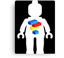 White Minifig with Bricks Logo by Customize My Minifig Canvas Print