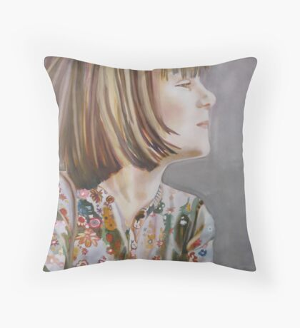 Charlotte: Let me do it!, watercolor and mixed media on paper Throw Pillow
