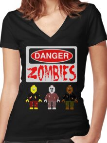 DANGER ZOMBIES Women's Fitted V-Neck T-Shirt