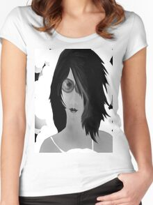 Sun Burn Black And White Women's Fitted Scoop T-Shirt