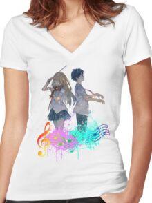 Shigatsu wa kimi no uso Women's Fitted V-Neck T-Shirt