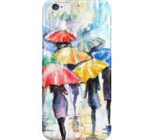Rainy Fantasy with umbrellas watercolor iPhone Case/Skin