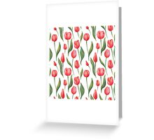 Watercolor Tulips Pattern Greeting Card
