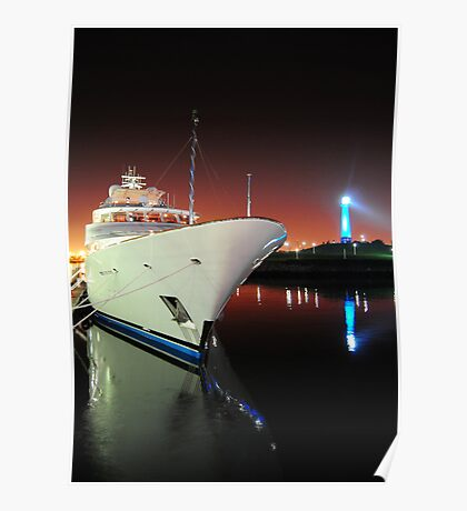 Long Beach Marina at Night Poster
