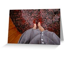 Perspective Stomping Grapes Greeting Card