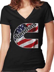 Cummins US Flag  Women's Fitted V-Neck T-Shirt