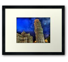 Leaning Tower of Pisa - at Night Framed Print