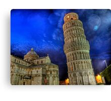 Leaning Tower of Pisa - at Night Canvas Print
