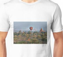 Ballons ride over temples of Bagan Unisex T-Shirt