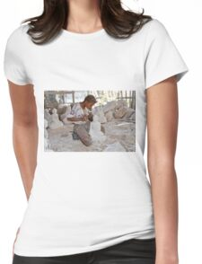 a boy chisels in workshop of Buddha Statues Womens Fitted T-Shirt