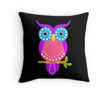 Owl Dots  Black Throw Pillow