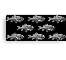 White Fish on Black Canvas Print