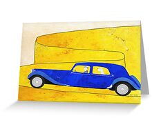 Blue car on the mountain pass Greeting Card