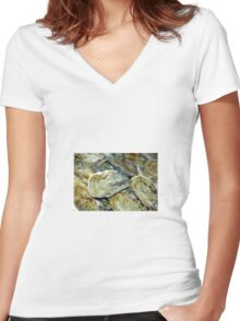 Oyster Shells Women's Fitted V-Neck T-Shirt