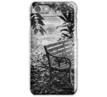 The antique chair under the tree in black and white iPhone Case/Skin