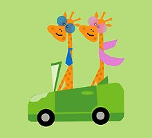 Giraffes and Car  Green by Vitta