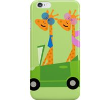 Giraffes and Car  Green iPhone Case/Skin