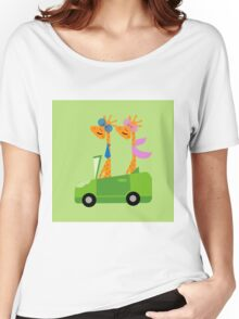 Giraffes and Car  Green Women's Relaxed Fit T-Shirt