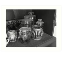 Candle holder and glass jars Art Print
