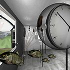 Clock and escaped fish by Lawrence Alfred Powell