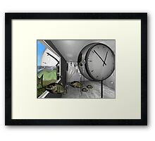 Clock and escaped fish Framed Print