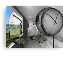 Clock and escaped fish Canvas Print