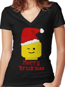 Santa Minifig - Merry 'Brick'mas Women's Fitted V-Neck T-Shirt