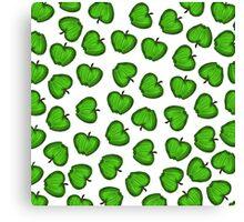 Cute Hand Drawn Green Fruity Apples Pattern Canvas Print