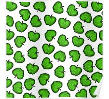 Cute Hand Drawn Green Fruity Apples Pattern Poster